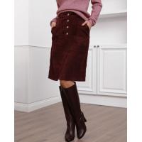 Бордовая вельветовая юбка с накладными карманами