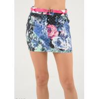 Темно-серая мини-юбка с принтом под цветочную вышивку