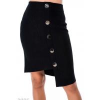 Черная асимметричная юбка-карандаш с крупными пуговицами