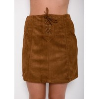 Юбка из эко-замши коричневого цвета с декоративной шнуровкой спереди