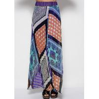 Фиолетовая полупрозрачная шифоновая юбка с орнаментом, плиссировкой и нижней непрозрачной юбкой