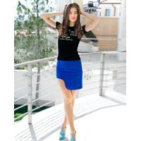 Синяя юбка с боковой выемкой
