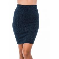 Синяя трикотажная юбка-карандаш в мелкий ромб