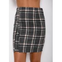 Шерстяная юбка в шотландскую клетку с клином и клапаном